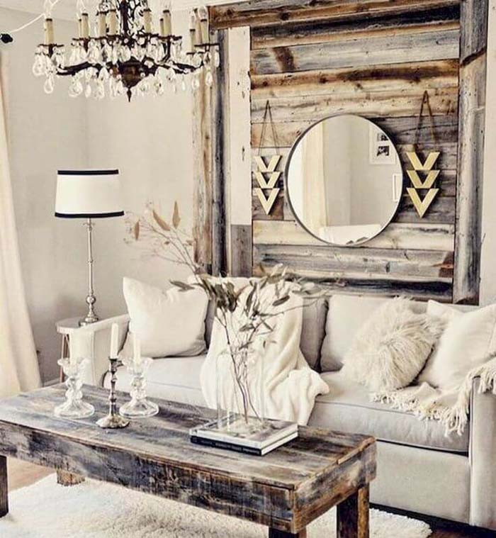 Pallet Inspired Wooden Hanging with Mirror #rustic #livingroom #walldecor #decorhomeideas