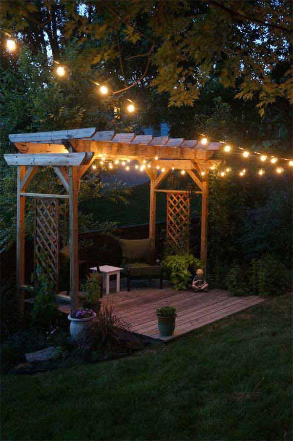Pergola with a Lighted Sitting Area #stringlight #garden #yard #decorhomeideas