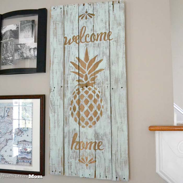 Pineapple Wooden Welcome Art #diy #pallet #sign #decorhomeideas