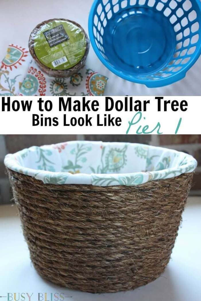 Plastic to Rustic Rope Basket Makeover #dollarstore #storage #organization #decorhomeideas