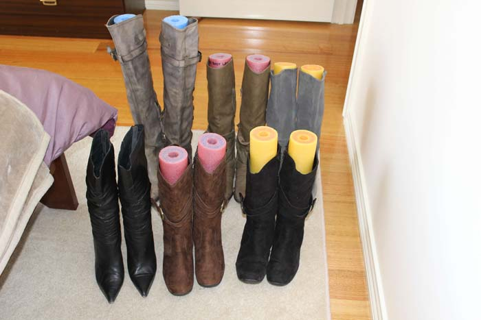 Pool Tube Shoe and Boot Forms #dollarstore #storage #organization #decorhomeideas
