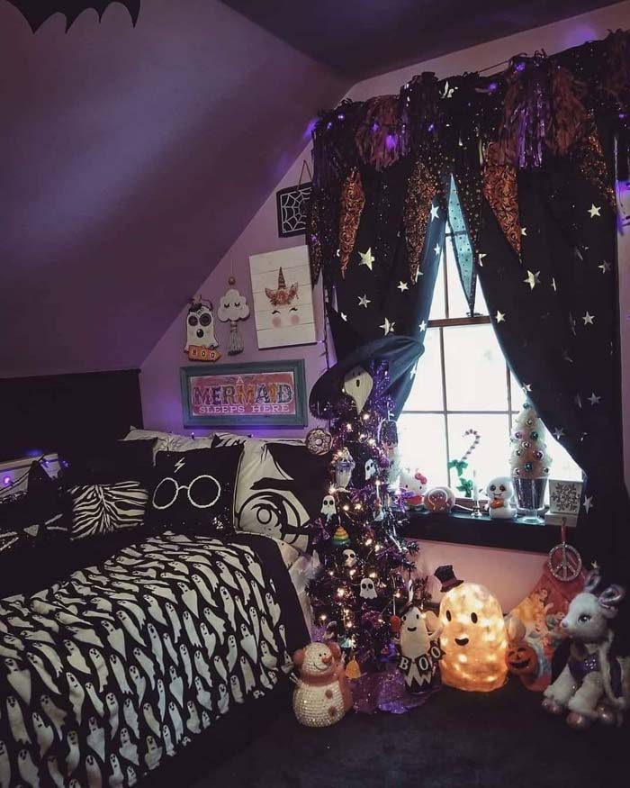 Purple Themed Halloween Kids Room Decor #halloween #kidsroom  #nursery #decorhomeideas