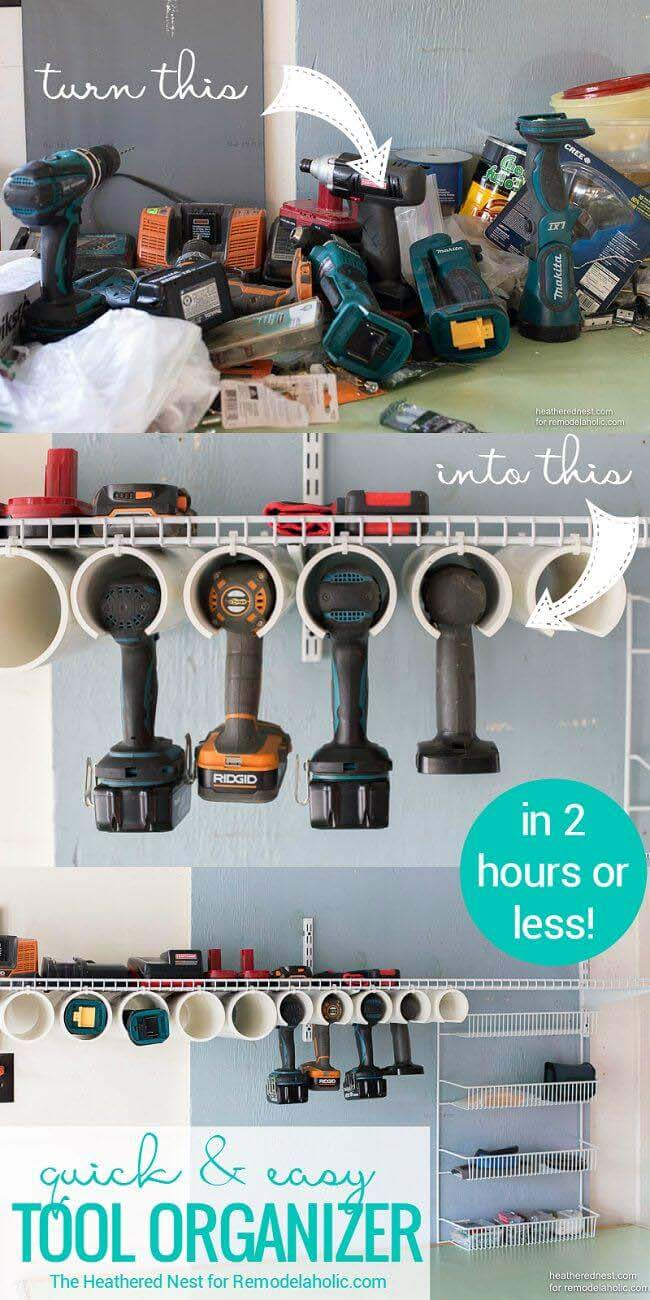 PVC Pipe Power Tool Caddy #garage #organization #declutter #decorhomeideas