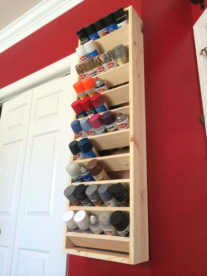 Rainbow Paint Display for Master Crafters #garage #organization #declutter #decorhomeideas