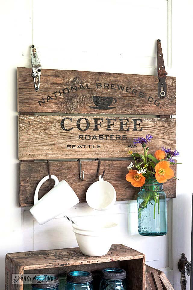 Reclaimed Wood Coffee Crate Lid Sign #diy #pallet #sign #decorhomeideas