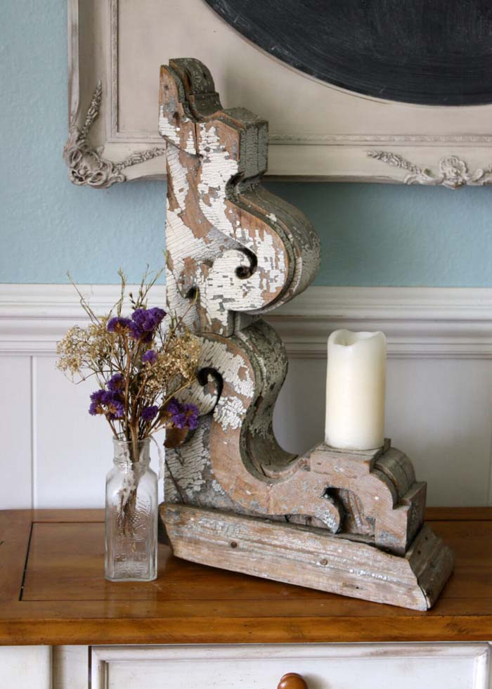 Repurposed Distressed Wood Corbel Candleholder #corbel #decoration #decorhomeideas