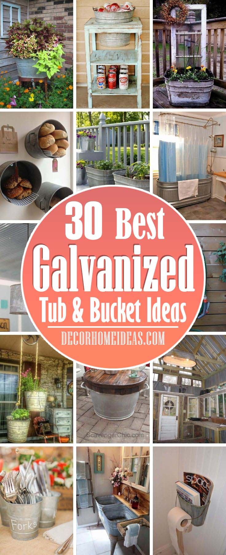 Repurposed Galvanized Tub Bucket Ideas. If repurposing is something you like to do, the following ideas to Use Rustic Galvanized Containers, Tubs and Buckets just might interest you. #decorhomeideas