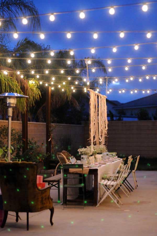 Romantic Backyard Wedding Reception Lighting #stringlight #garden #yard #decorhomeideas