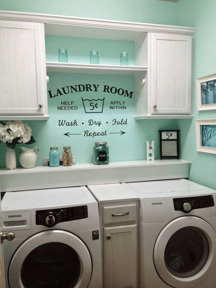 Rustic Retro Laundry Room Concept #laundryroom #small  #design #decorhomeideas