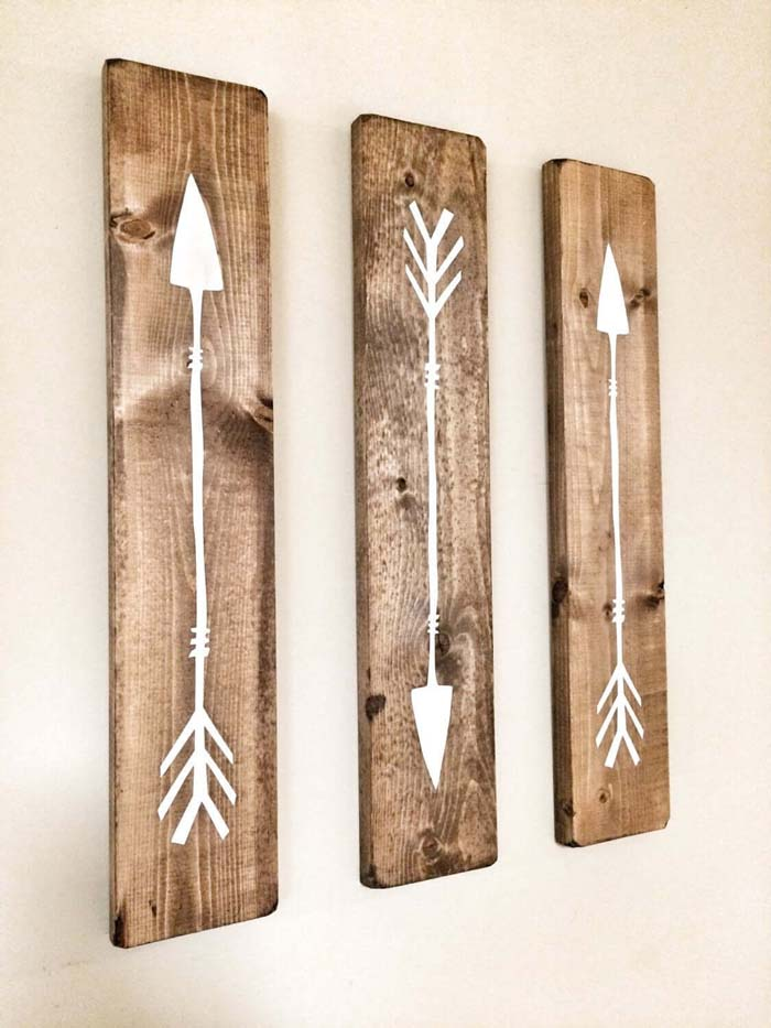 Set of 3 Wooden Arrows #diy #pallet #sign #decorhomeideas