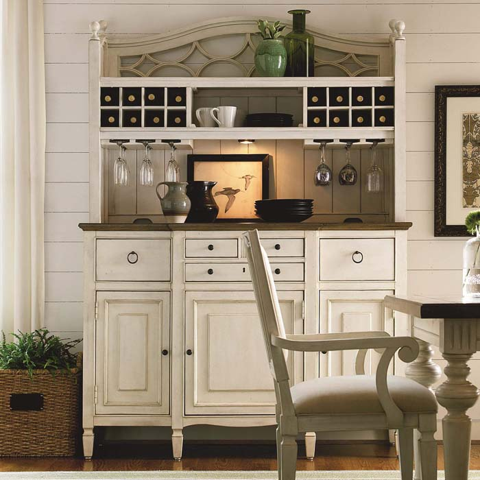 Shabby Chic Hutch with Built-in Wine Service #diningroom #storage #decorhomeideas