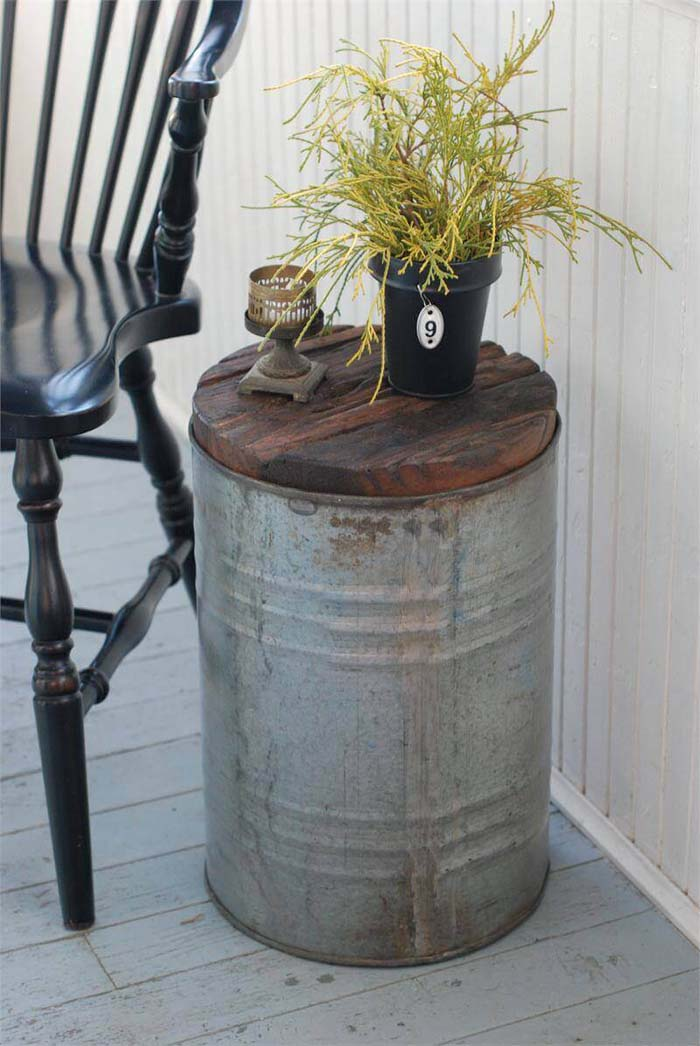 Side Table Made from Galvanized Bucket #galvanized #tub #bucket #decorhomeideas