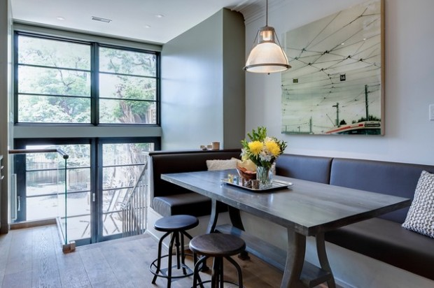 Slick Upholstery and Clean Lines in a Contemporary Home #kitchen #bench #decorhomeideas