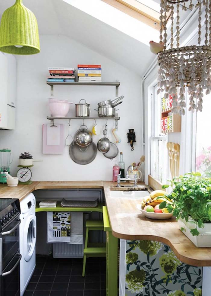 Small Kitchen Design Idea with Open Shelves #small #kitchen #design #decorhomeideas