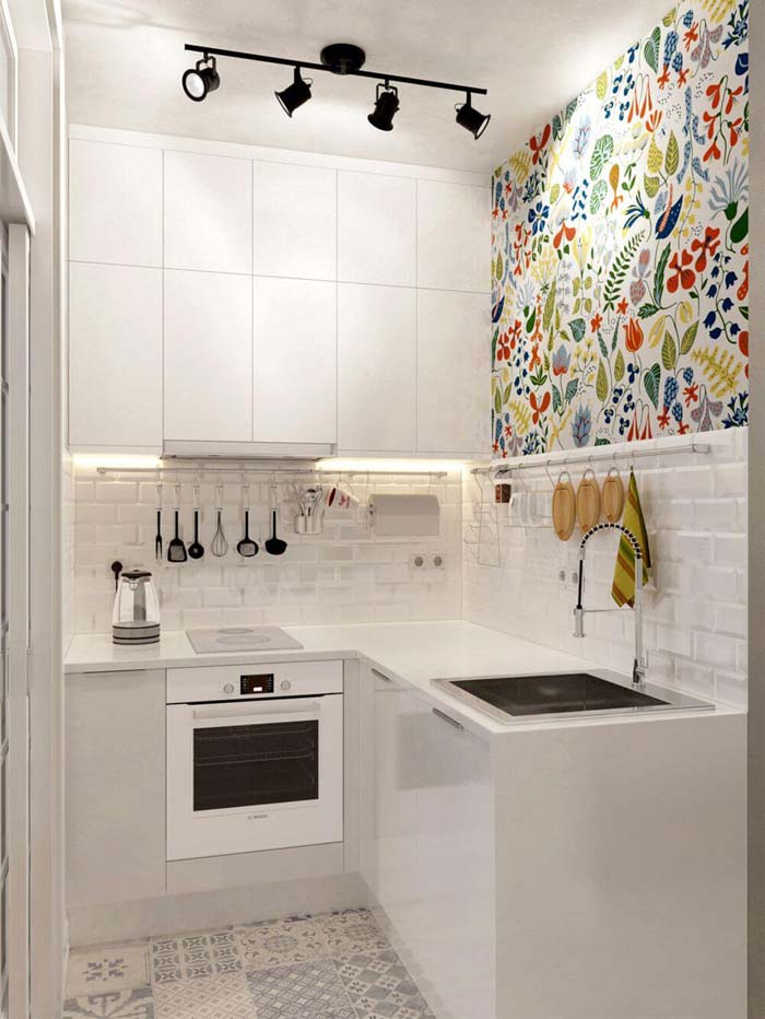 Splashes of Colorful Designs Within Tiny Space #small #kitchen #design #decorhomeideas