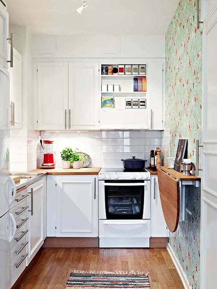 Splashing a Bit of Wallpaper Color #small #kitchen #design #decorhomeideas