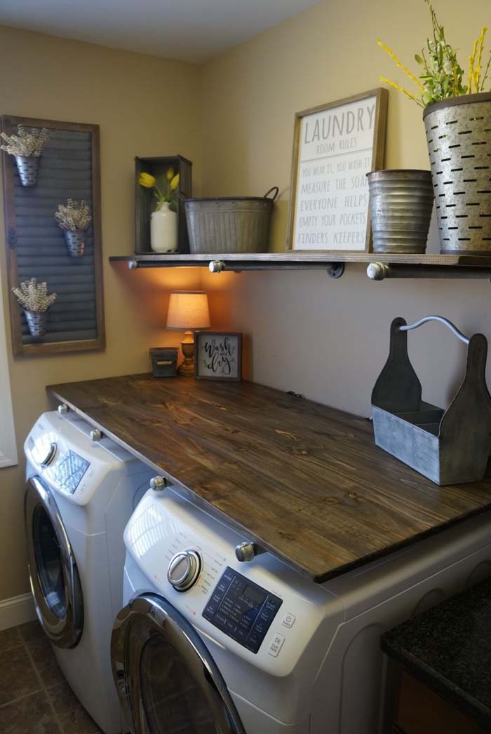 Steel and Chrome and Wood Laundry Room #laundryroom #small  #design #decorhomeideas