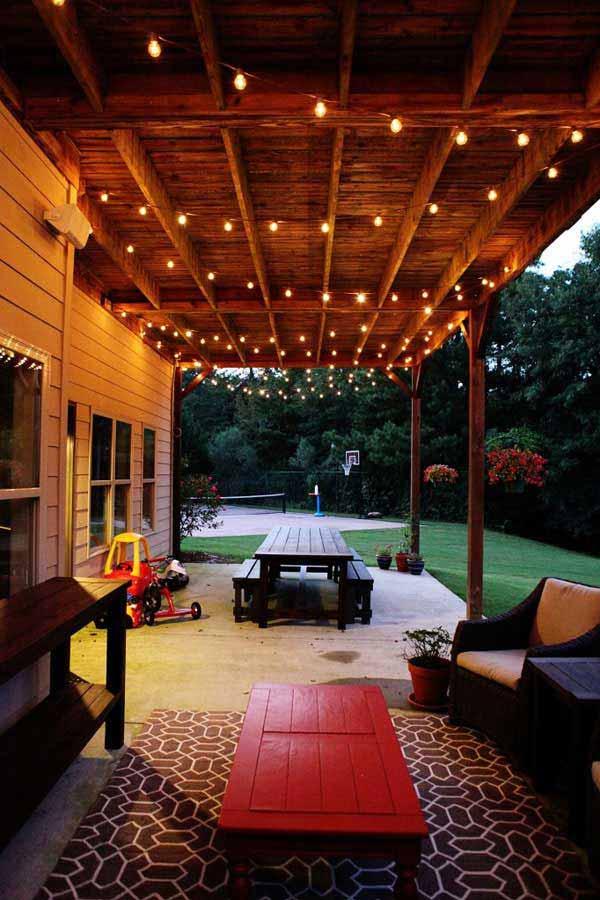 String Lights Make Your Porch More Relaxing #stringlight #garden #yard #decorhomeideas