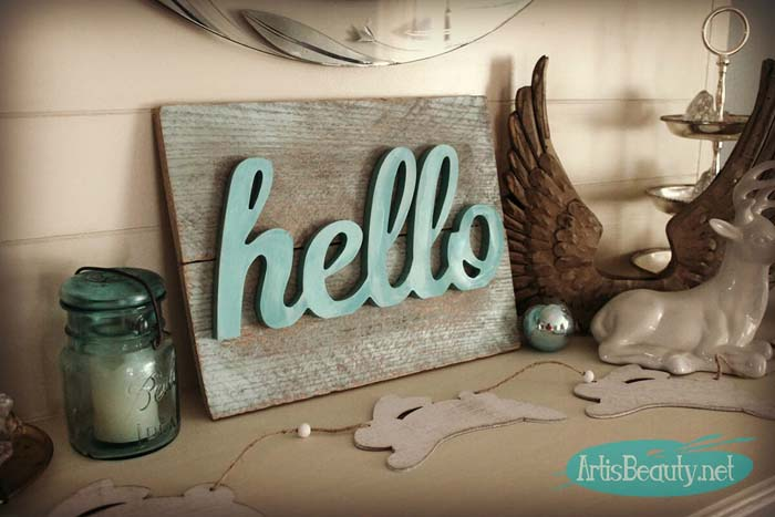 Super Easy HELLO Spring Pallet Art #diy #pallet #sign #decorhomeideas