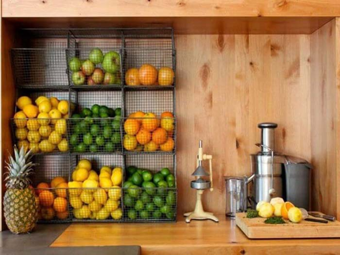 Sweet and Tidy Fruit Juicing Station #dollarstore #storage #organization #decorhomeideas