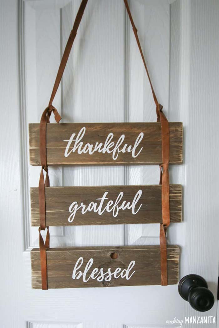 Thankful Grateful Blessed Pallet Wood Sign #diy #pallet #sign #decorhomeideas
