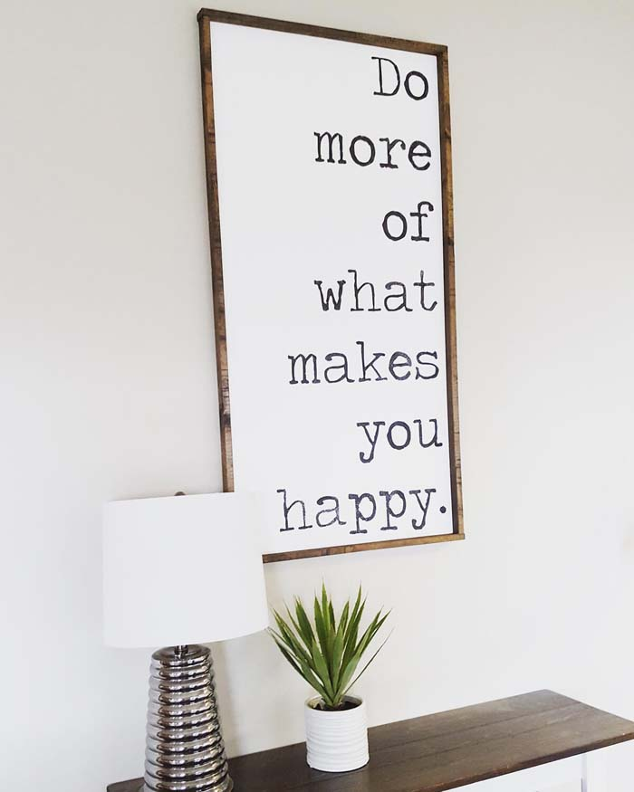 Thoughtful Sign in Typewriter Font #rustic #livingroom #walldecor #decorhomeideas