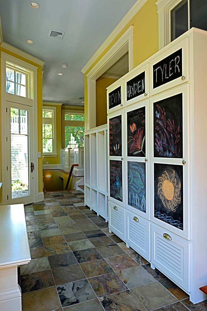 Tile Floor And Personalized Closets #storage #mudroom #organization #decorhomeideas