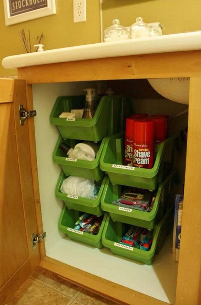 Under Counter Bathroom Nesting Bins #dollarstore #storage #organization #decorhomeideas