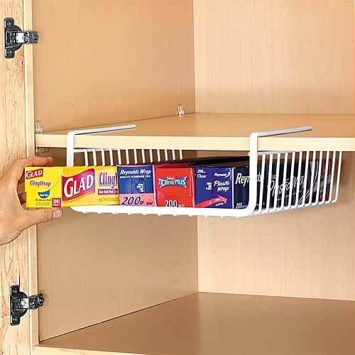 Under-Shelf Kitchen Paper and Wrap Organizer #dollarstore #storage #organization #decorhomeideas