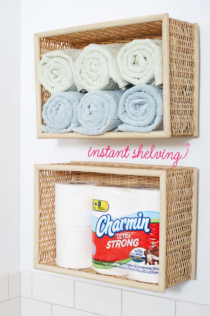Wall-Mounted Bathroom Basket Shelves #dollarstore #storage #organization #decorhomeideas