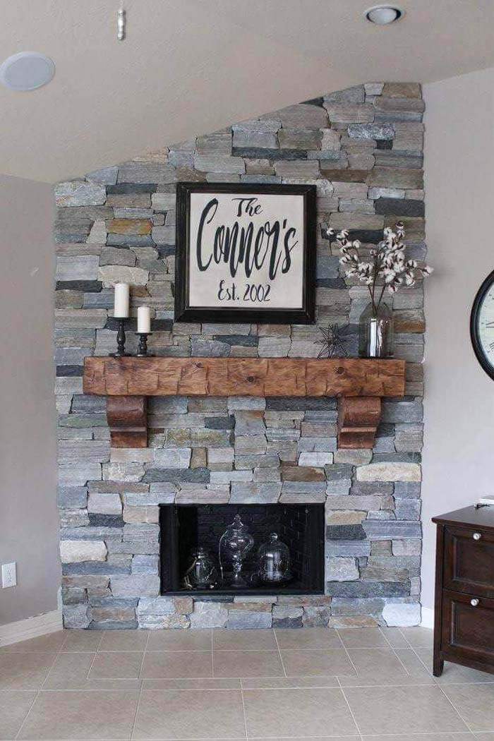 Warm Wood Corbel-Supported Fireplace Mantel #corbel #decoration #decorhomeideas