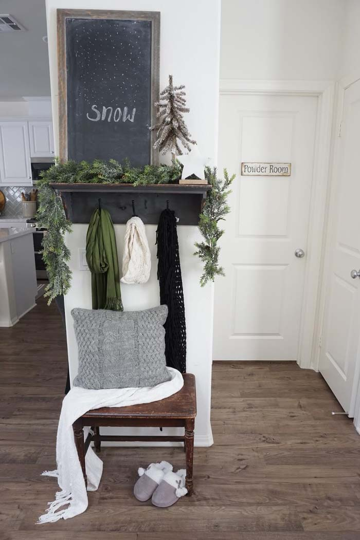 Wintery Corner with Chalkboard and Evergreen Garlands #farmhouse #entryway #decor #decorhomeideas