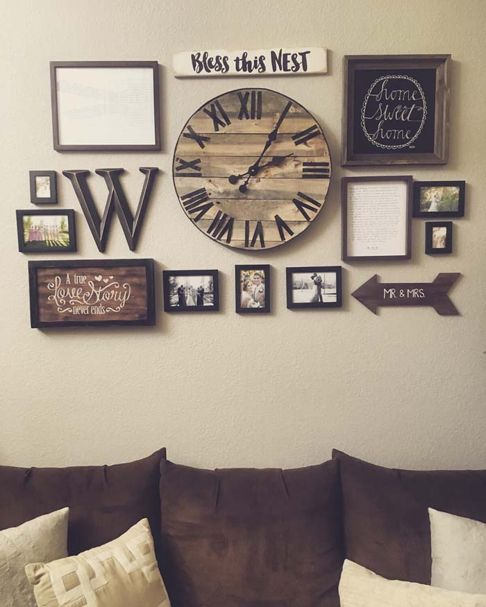 Wood Toned Clock Frames and Text Signs #rustic #livingroom #walldecor #decorhomeideas