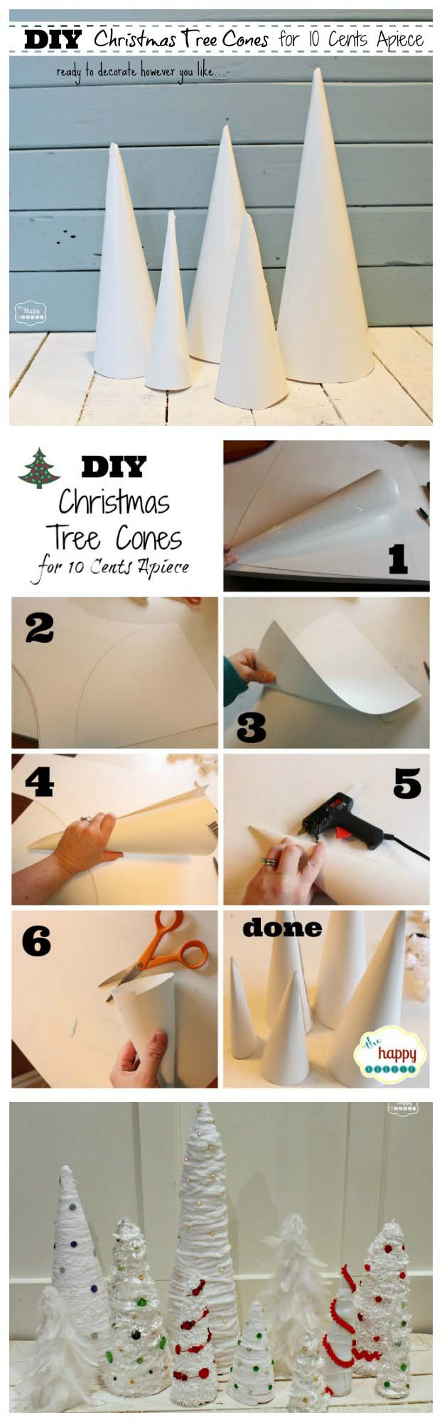 10 Cents a Piece Christmas Tree Cone Craft #Christmas #tree #crafts #decorhomeideas