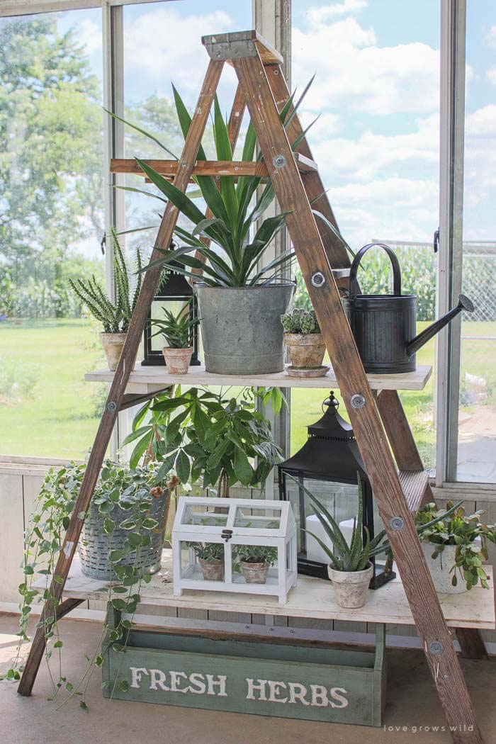 3 Tiered A-Line Potting Table #diy #ladder #repurpose #decorhomeideas