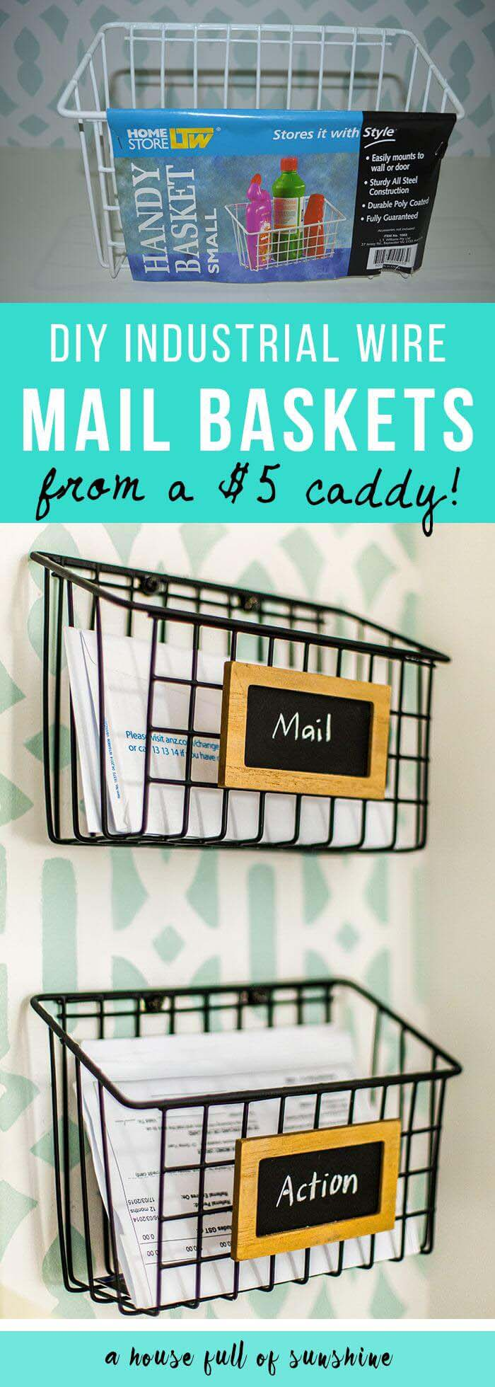 $5 DIY Mail Sorting Baskets #dollarstore #diy #homedecor #decorhomeideas
