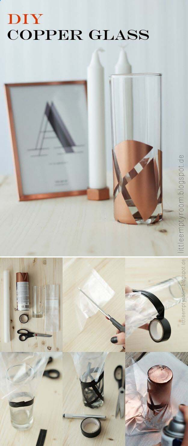 Add Copper Accents to a Pillar Vase #dollarstore #diy #homedecor #decorhomeideas