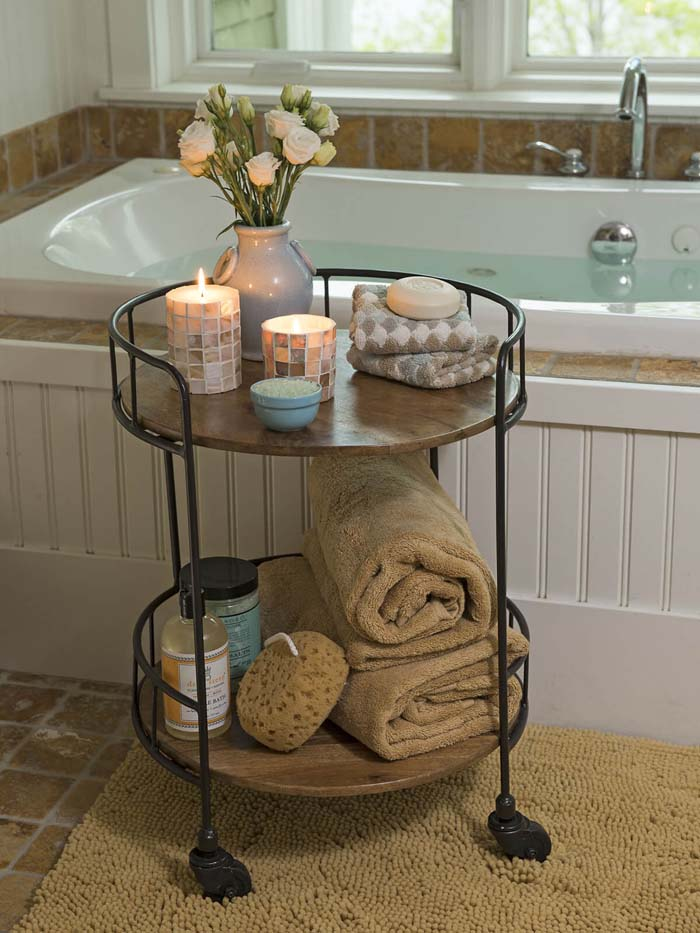 Antique Rolling Toiletry Table #bathroom #towel #storage #decorhomeideas