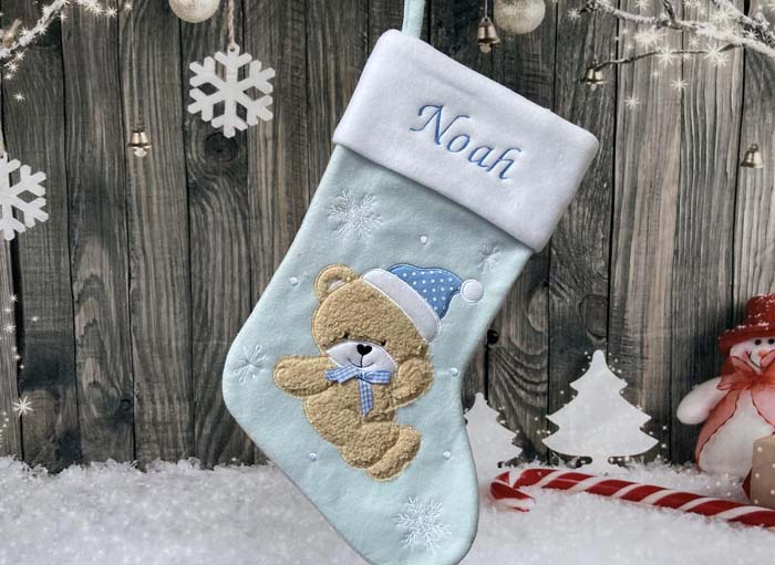 Baby Blue Personalized Christmas Stocking #Christmas #blue #decorations #decorhomeideas