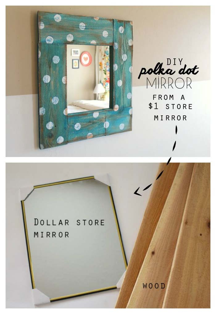 Bespoke Blue Milk Paint and Polka Dot Mirror #dollarstore #diy #homedecor #decorhomeideas