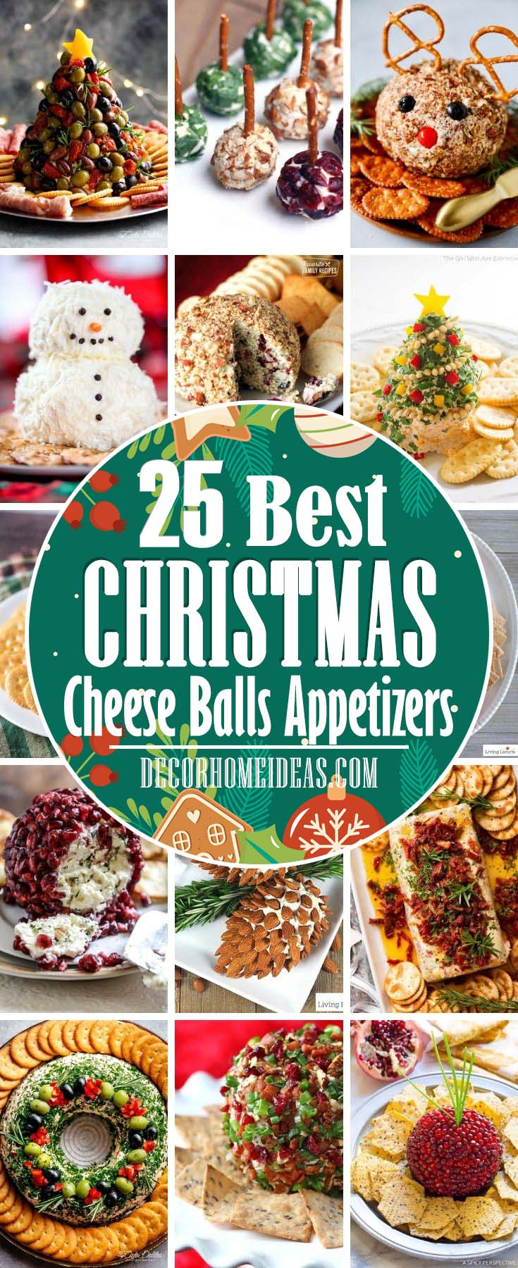 Best Christmas Cheese Balls Appetizers. These Christmas cheese balls appetizers are perfect for kicking off Christmas dinner or a festive holiday party. From snowmen to Christmas trees, these will keep the hunger at bay. #decorhomeideas