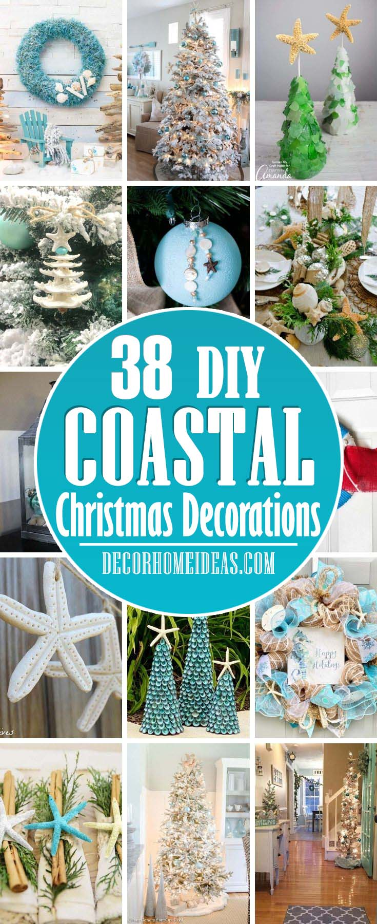 Best DIY Coastal Christmas Decorations. If you love coastal and beachy home decor then these DIY coastal Christmas decorations and ornaments will be your favorites this year. #decorhomeideas