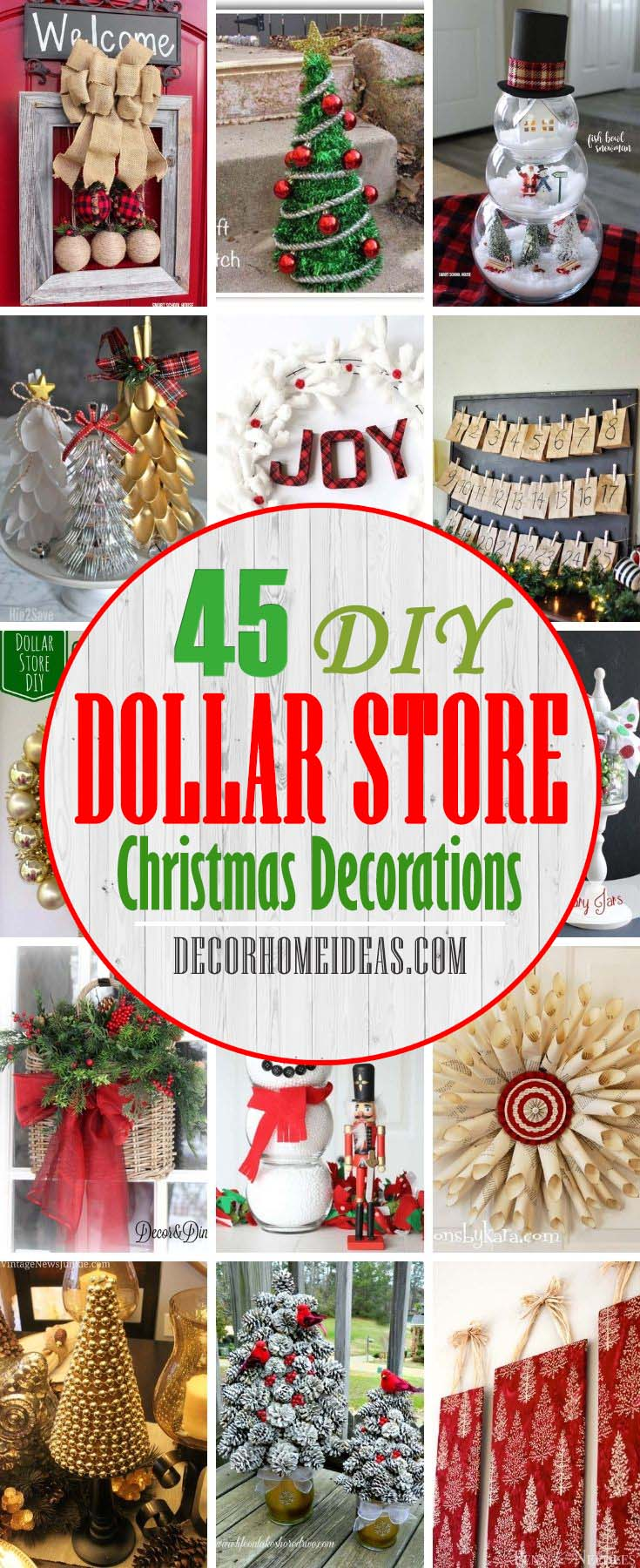 Best DIY Dollar Store Christmas Decorations. Whether you're planning a downhome family celebration and want some vintage or rustic decor, or you just want to spruce up your old decorations, these Dollar Store decoration projects are perfect for putting the finishing touches on your holiday decorating. #decorhomeideas #dollarstore