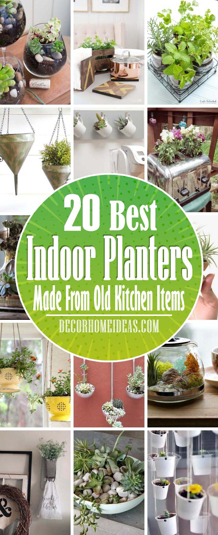Best Indoor Planters From Old Kitchen Items. Before you toss that old pie plate or utensil in the trash consider giving it a second life. Here are more than 20 DIY indoor planters made from old kitchen stuff. #decorhomeideas