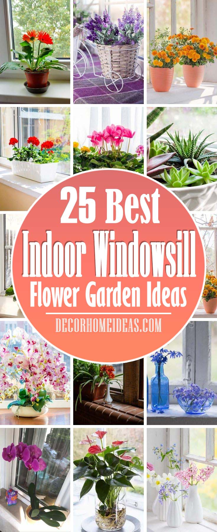 Best Indoor Windowsill Flower Garden Ideas. These space-saving flower pot ideas are just right for a modest indoor garden—whether you're a green thumb or a chronic plant killer. #decorhomeideas
