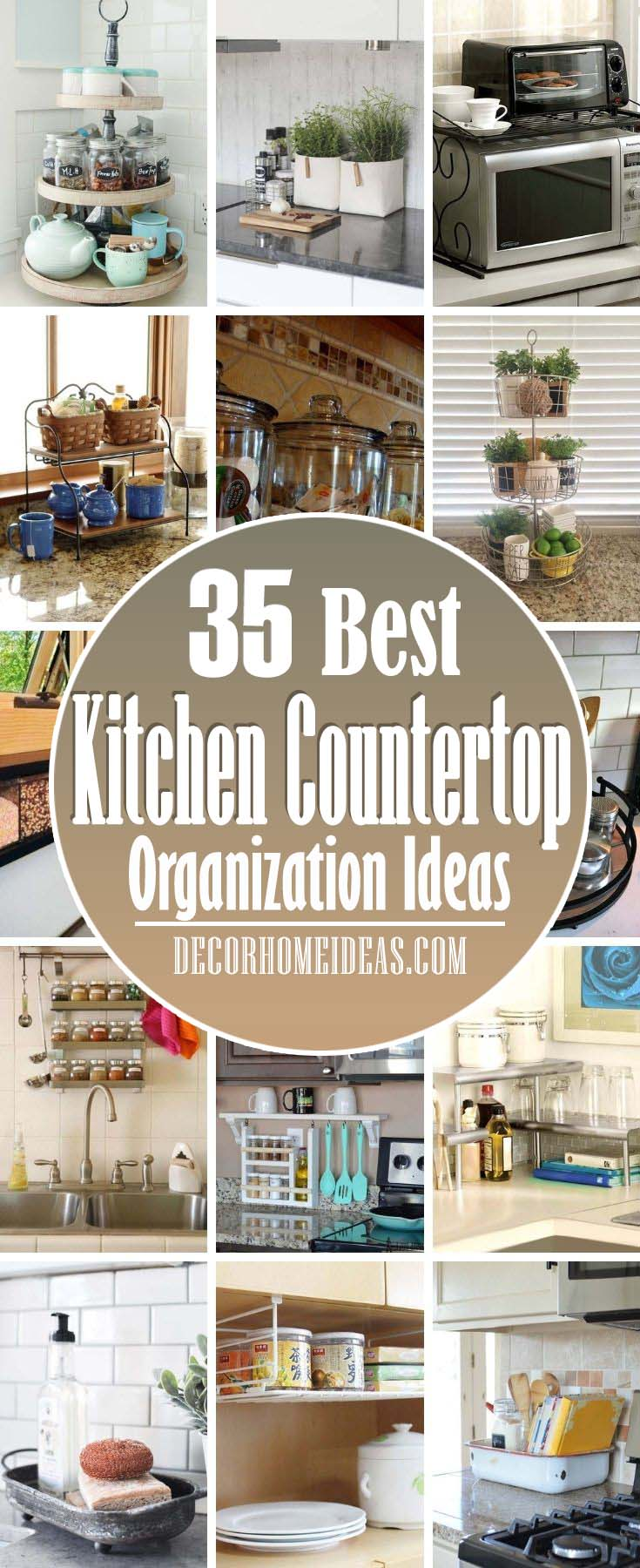 Best Kitchen Countertop Organization Ideas. Here are some creative ways to think about and store your kitchen items so that your counters stay as clear as possible. #decorhomeideas