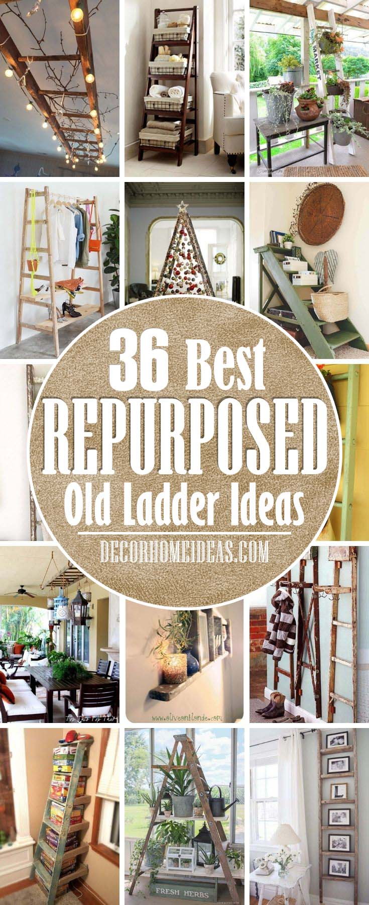 Best Repurposed Old Ladder Ideas. I'm pretty sure that all of you have some old unused ladders that we can repurpose as some new items and here are some brilliant ideas and DIY tutorials. #decorhomeideas