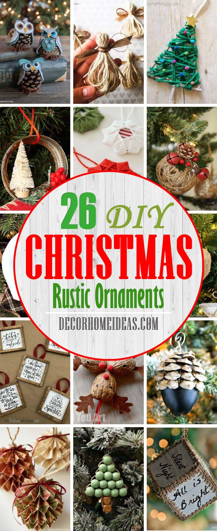 Best Rustic DIY Christmas Ornaments. Christmas is just around the corner so it's time to dress up your tree. If you need some inspiration we have gathered some top easy, creative and rustic DIY Christmas… #decorhomeideas