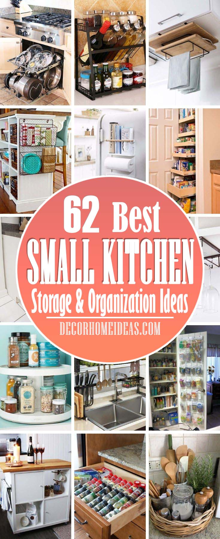 Best Small Kitchen Storage Organization Ideas. These ideas will help you make the most of the space you do have. From unique cabinetry solutions to little tricks, these ideas just might help you feel like you've doubled your kitchen's square footage. #decorhomeideas