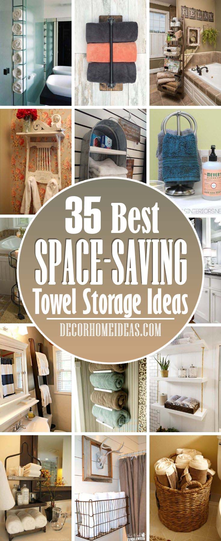 Best Space Saving Towel Storage Ideas Bathroom. Take a look at some smart towel storage ideas that will help you keep your bath towels fresh – and your bathroom tidy and organized. #decorhomeideas